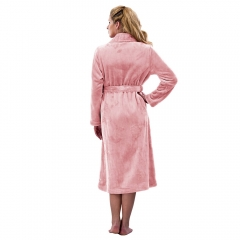 RAIKOU Ladies Luxury Soft Coral Fleece Wrap Cosy Pastel Bath Robe Dressing Gown Nightwear Loungewear Housecoat