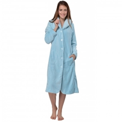 RAIKOU Ladies Luxury Soft Coral Fleece Button up Cosy Pastel Bath Robe Dressing Gown Nightwear Loungewear Housecoat