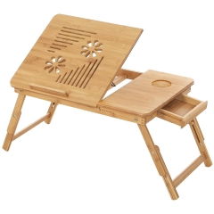 RAIKOU Bamboo laptop table, notebook table, bedside table, lap desk for up to 17 inch laptops, height adjustable and foldable, 55 x 35 x 29 cm LLD002